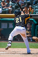 Alfredo Marte (21) of the Salt Lake Bees at bat against the Albuquerque Isotopes in Pacific Coast League action at Smith's Ballpark on June 28, 2015 in Salt Lake City, Utah. The Isotopes defeated the Bees 8-3. (Stephen Smith/Four Seam Images)