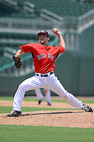 GCL Red Sox pitcher Rob Smorol (60) during a game against the GCL Twins on July 19, 2013 at JetBlue Park at Fenway South in Fort Myers, Florida.  GCL Red Sox defeated the GCL Twins 4-2.  (Mike Janes/Four Seam Images)