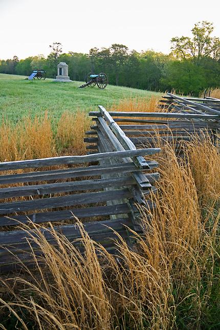 Monuments and Split Rail fence on Civil War Battlefield