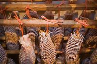 """Europe/France/Rhône-Alpes/01/Ain/Lelex: Noix de jambon dans le séchoir de Claude Grosgurin  charcutier """"Au Bon Saucisson""""  <br /> Europe / France / Rhône-Alpes / 01 / Ain / Lelex: Nuts of ham in the dryer of Claude Grosgurin charcutier """"Au Bon Saucisson"""