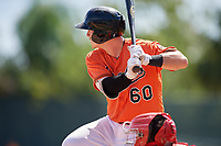 Baltimore Orioles Ben Breazeale (60) at bat during a Florida Instructional League game against the Philadelphia Phillies on October 4, 2018 at Ed Smith Stadium in Sarasota, Florida.  (Mike Janes/Four Seam Images)