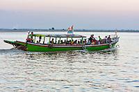 Myanmar, Burma, near Bagan.  Local Passenger Boat on the Ayeyarwady River.