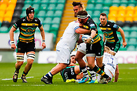 21st March 2021; Franklin's Gardens, Northampton, East Midlands, England; Premiership Rugby Union, Northampton Saints versus Bristol Bears; Tom Wood of Northampton Saints looks to offload in a tackle