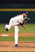 Buffalo Bisons pitcher Steve Delabar (50) delivers a pitch during a game against the Pawtucket Red Sox on August 26, 2014 at Coca-Cola Field in Buffalo, New  York.  Pawtucket defeated Buffalo 9-3.  (Mike Janes/Four Seam Images)