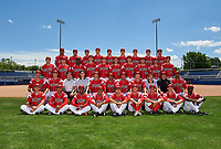 Batavia Muckdogs team photo before a game against the Aberdeen Ironbirds on July 16, 2016 at Dwyer Stadium in Batavia, New York.  First Row:  J.J. Gould, Jhonny Santos, Samuel Castro, Pablo Garcia, Alex Fernandez, Aaron Knapp, Mike Garzillo, Shane Sawczak, Isaiah White;  Second Row:  Corey Bird, Jarett Rindfleisch, Strength Coach Joe Palazzoio, Athletic Trainer Eric Reigelsberger, Pitching Coach Chad Rhoades, Manager Angel Espada, Hitting Coach Luis Quinones, Assistant Coach T.J. Gamba, Video Coordinator Josh Kapiloff, Clubhouse Manager John Versage, Kris Goodman;  Third Row:  Sam Perez, Trenton Hill, Javier Lopez, Jordan Holloway, Dylan Lee, Ryan McKay, Colby Lusignan, Brent Wheatley, Reilly Hovis, Chad Smith;  Fourth Row:  Jose Diaz, Javier Garcia, Alex Mateo, Dustin Beggs, Chevis Hoover, Trevor Richards, Travis Neubeck, Alex Jones, Ty Provencher.  (Mike Janes/Four Seam Images)