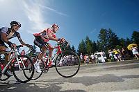 Jurgen Van den Broeck (BEL/Lotto-Belisol) up the final climb to Chamrousse (1730m/18.2km/7.3%)<br /> <br /> 2014 Tour de France<br /> stage 13: Saint-Etiènne - Chamrousse (197km)