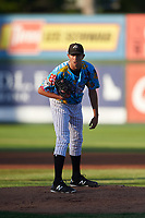 Idaho Falls Chukars starting pitcher Anthony Veneziano (49) looks to his catcher for the sign during a Pioneer League game against the Missoula Osprey at Melaleuca Field on August 20, 2019 in Idaho Falls, Idaho. Idaho Falls defeated Missoula 6-3. (Zachary Lucy/Four Seam Images)