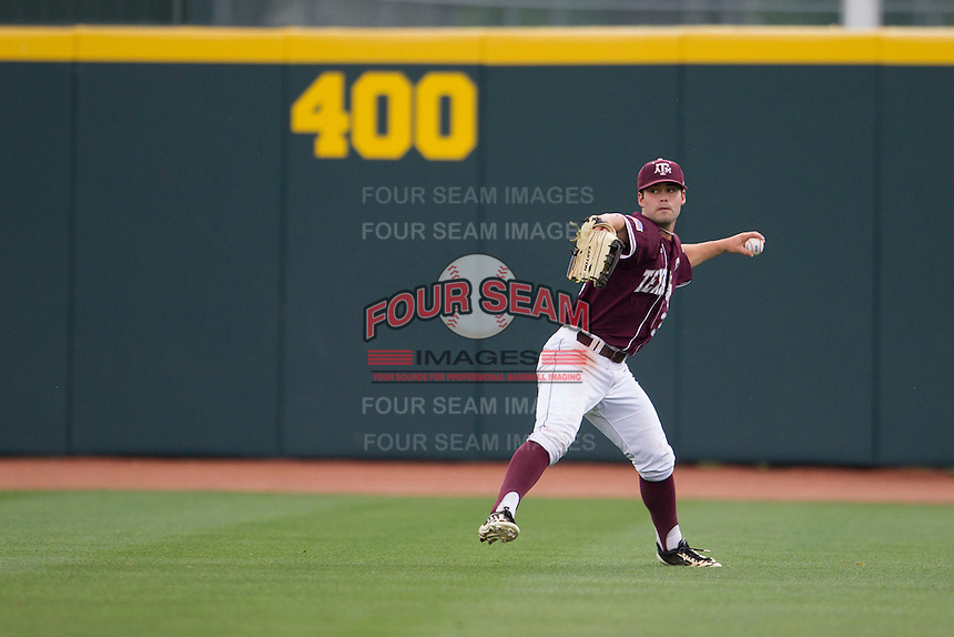 Texas A&M Aggies outfielder Jace Statum (3) prepares to make a throw to the infield against the LSU Tigers in the NCAA Southeastern Conference baseball game on May 10, 2013 at Blue Bell Park in College Station, Texas. LSU defeated Texas A&M 7-4. (Andrew Woolley/Four Seam Images).