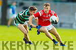 Jordan Conway, St. Brendan's Board in action against Dara Moynihan, East Kerry during the Kerry County Senior Football Championship Semi-Final match between East Kerry and St Brendan's at Austin Stack Park in Tralee, Kerry.