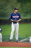 New Hampshire Fisher Cats starting pitcher Conner Greene (22) gets ready to deliver a pitch during a game against the Altoona Curve on May 11, 2017 at Peoples Natural Gas Field in Altoona, Pennsylvania.  Altoona defeated New Hampshire 4-3.  (Mike Janes/Four Seam Images)