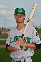 Clinton LumberKings Connor Scott (13) poses for a photo before a Midwest League game against the Great Lakes Loons on July 19, 2019 at Dow Diamond in Midland, Michigan.  Clinton defeated Great Lakes 3-2.  (Mike Janes/Four Seam Images)