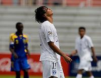 David Carranza (11) of Honduras reacts to a missed shot during the group stage of the CONCACAF Men's Under 17 Championship at Catherine Hall Stadium in Montego Bay, Jamaica. Honduras defeated Barbados, 2-1.
