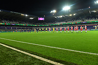 both team line ups in an empty stadium pictured during a female soccer game between RSC Anderlecht Dames and Northern Irish Linfield Ladies  in the first qualifying round for the Uefa Womens Champions League of the 2020 - 2021 season , Wednesday 4 th of November 2020  in ANDERLECHT , Belgium . PHOTO SPORTPIX.BE | SPP | DAVID CATRY