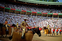 """""""Picadores"""" are pictured before a bullfight of the San Fermin Festival, on July 10, 2012, in the Northern Spanish city of Pamplona. The festival is a symbol of Spanish culture that attracts thousands of tourists to watch the bull runs despite heavy condemnation from animal rights groups . (c) Pedro ARMESTRE"""