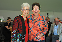 Sue Hall (right) with Trish McKelvey. Cricket Wellington membership badge presentations in the Long Room at the Basin Reserve in Wellington, New Zealand on Saturday, 14 November 2020. Photo: Dave Lintott / lintottphoto.co.nz
