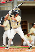 Stephen Schoettmer #13 of the Wake Forest Demon Deacons at bat against the North Carolina State Wolfpack at Doak Field at Dail Park on March 17, 2012 in Raleigh, North Carolina.  The Wolfpack defeated the Demon Deacons 6-2.  (Brian Westerholt/Four Seam Images)