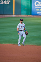 Chris Mariscal (3) of the Tacoma Rainiers during the game against the Salt Lake Bees at Smith's Ballpark on May 27, 2019 in Salt Lake City, Utah. The Bees defeated the Rainiers 5-0. (Stephen Smith/Four Seam Images)