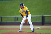 UNCG Spartans starting pitcher Jeremiah Triplett (34) in action against the San Diego State Aztecs at Springs Brooks Stadium on February 16, 2020 in Conway, South Carolina. The Spartans defeated the Aztecs 11-4.  (Brian Westerholt/Four Seam Images)