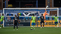 SAN JOSE, CA - OCTOBER 18: Stefan Frei #24 of the Seattle Sounders tips the ball over the bar during a game between Seattle Sounders FC and San Jose Earthquakes at Earthquakes Stadium on October 18, 2020 in San Jose, California.