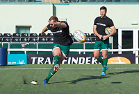 Players warm up ahead of the Greene King IPA Championship match between Ealing Trailfinders and Jersey at Castle Bar, West Ealing, England  on 19 October 2019. Photo by Alan Stanford / PRiME Media Images