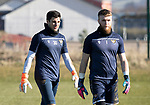 St Johnstone Training…….03.03.20<br />Keepers Max Johnstone and Zander Clark pictured during training this morning at McDiarmid Park ahead of tomorrow night's game at St Mirren.<br />Picture by Graeme Hart.<br />Copyright Perthshire Picture Agency<br />Tel: 01738 623350  Mobile: 07990 594431