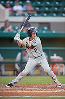 Fort Myers Miracle third baseman Jose Miranda (17) at bat during a game against the Lakeland Flying Tigers on August 7, 2018 at Publix Field at Joker Marchant Stadium in Lakeland, Florida.  Fort Myers defeated Lakeland 5-0.  (Mike Janes/Four Seam Images)