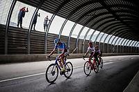 Rein Taaramäe (EST/Total Direct Energie), Giulio Ciccone (ITA/Trek-Segafredo) & Julien Bernard (FRA/Trek Segafredo)  in a tunnel 2 km from the finish in Val thorens<br /> <br /> shortened stage 20: Albertville to Val Thorens(59km in stead of the original 130km due to landslides/bad weather)<br /> 106th Tour de France 2019 (2.UWT)<br /> <br /> ©kramon