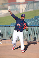 Rogelio Armenteros (41) of the Lancaster JetHawks throws in the bullpen before pitching against the Bakersfield Blaze at The Hanger on April 28, 2016 in Lancaster, California. Lancaster defeated Bakersfield, 5-4. (Larry Goren/Four Seam Images)