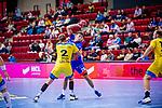 Lukas Saueressig (HBW Balingen #26) ; Michael Stotz (HSG Konstanz #2) beim Spiel HSG Konstanz – HBW Balingen-Weilstetten beim BGV Handball Cup 2020.<br /> <br /> Foto © PIX-Sportfotos *** Foto ist honorarpflichtig! *** Auf Anfrage in hoeherer Qualitaet/Aufloesung. Belegexemplar erbeten. Veroeffentlichung ausschliesslich fuer journalistisch-publizistische Zwecke. For editorial use only.