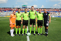 Team captains Skyblue FC Christie Rampone and Washington Freedom Abby Wambach with referees. The Skyblue FC defeated the Washington Freedom 2-1 in first round of WPS playoffs at the Maryland Soccerplex, Saturday, August 15, 2009.