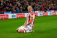 1st October 2021;  Bet365 Stadium, Stoke, Staffordshire, England; EFL Championship football, Stoke City versus West Bromwich Albion; Nick Powell of Stoke City celebrates his 77th minute goal