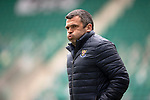 Hibs v St Johnstone…01.05.21  Easter Road. SPFL<br />Saints boss Callum Davidson at a cold Easter Road<br />Picture by Graeme Hart.<br />Copyright Perthshire Picture Agency<br />Tel: 01738 623350  Mobile: 07990 594431