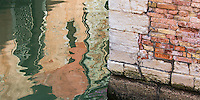 The colorful plaster walls of Venice shimmer in their reflection in contrast to the solid brick walls along the canal.