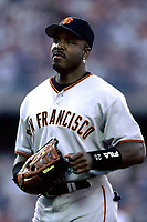 Barry Bonds of the San Francisco Giants during a 2000 season MLB game at Dodger Stadium in Los Angeles, California. (Larry Goren/Four Seam Images)