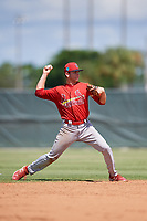 GCL Cardinals shortstop Mateo Gil (16) throws to first base during a game against the GCL Mets on August 6, 2018 at Roger Dean Chevrolet Stadium in Jupiter, Florida.  GCL Cardinals defeated GCL Mets 6-3.  (Mike Janes/Four Seam Images)