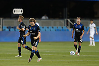 SAN JOSE, CA - SEPTEMBER 19: Florian Jungwirth #23 of the San Jose Earthquakes celebrates during a game between Portland Timbers and San Jose Earthquakes at Earthquakes Stadium on September 19, 2020 in San Jose, California.