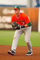Miami Hurricanes first baseman Peter O'Brien #7 on defense against the Wake Forest Demon Deacons at NewBridge Bank Park on May 25, 2012 in Winston-Salem, North Carolina.  The Hurricanes defeated the Demon Deacons 6-3.  (Brian Westerholt/Four Seam Images)