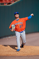 Syracuse Mets starting pitcher Anthony Kay (27) warms up in the bullpen before an International League game against the Buffalo Bisons on June 29, 2019 at Sahlen Field in Buffalo, New York.  Buffalo defeated Syracuse 9-3.  (Mike Janes/Four Seam Images)
