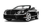 Stock pictures of low aggressive front three quarter view of 2015 Bentley Continental GTC  Base 2 Door Convertible