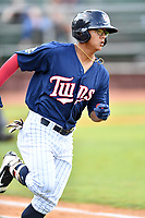 Elizabethton Twins left fielder Lean Marrero (39) runs to first base during a game against the Kingsport Mets at Joe O'Brien Field on August 7, 2018 in Elizabethton, Tennessee. The Twins defeated the Mets 16-10. (Tony Farlow/Four Seam Images)