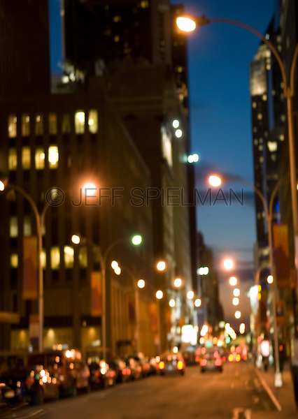 AVAILABLE FROM JEFF AS A FINE ART PRINT.<br /> <br /> AVAILABLE FROM JEFF FOR COMMERCIAL AND EDITORIAL LICENSING.<br /> <br /> Blurred Motion Street Scene - Midtown Manhattan at Dusk, New York City,, New York State, USA