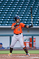 AZL Giants designated hitter Ricardo Genoves (15) at bat against the AZL Cubs on July 17, 2017 at Sloan Park in Mesa, Arizona. AZL Giants defeated the AZL Cubs 12-7. (Zachary Lucy/Four Seam Images)