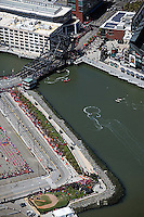 aerial photograph of the Beijing Olympic torch relay, at the Third Street Bridge, McCovey Cove,  San Francisco, California, 2008