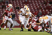 Tennessee running back Jabari Small (20) carries the ball, Saturday, November 7, 2020 during the first quarter of a football game at Donald W. Reynolds Razorback Stadium in Fayetteville. Check out nwaonline.com/201108Daily/ for today's photo gallery. <br /> (NWA Democrat-Gazette/Charlie Kaijo)