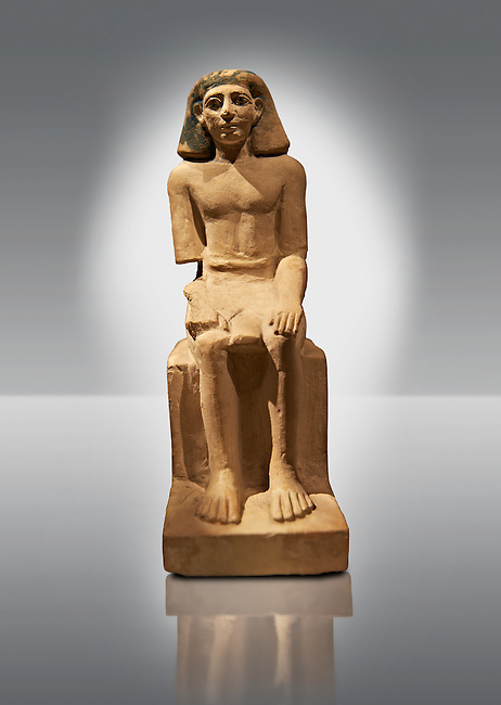 Seated Ancient Egyptian figure of Sebeknihotep. 1640-100 BC . Neues Reich Museum Berlin Cat No: AM 12546.
