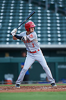 AZL Reds Rafael Franco (2) at bat during an Arizona League game against the AZL Cubs 2 on July 23, 2019 at Sloan Park in Mesa, Arizona. AZL Cubs 2 defeated the AZL Reds 5-3. (Zachary Lucy/Four Seam Images)