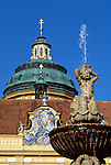 Austria, Lower Austria, Wachau, Melk, sculpture of a fountain and dome of monastery Melk, Benedictine monastery since 1089, founded by margrave Leopold II.