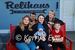 The Relihan family in Relihan's Car Dismantling and Breakers yard. Seated l to r: Georgia, Ada, Harvey and Tom Jnr. Back l to r: Tom and Denise Relihan