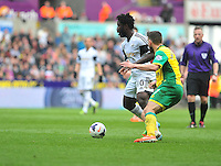 Swansea v Norwich, Liberty stadium Swansea, Saturday 29th March 2014<br /> <br /> Photographs by Amy Husband<br /> <br /> <br /> Swansea's Winifried Bony on the ball.