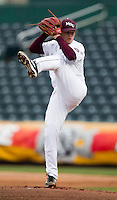 Nick Petree (10) of the Missouri State Bears winds up during a game against the Northwestern Wildcats at Hammons Field on March 8, 2013 in Springfield, Missouri. (David Welker/Four Seam Images)
